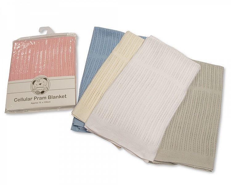 BW215, Baby Cellular Cotton Pram Blanket £2.95.   pk2....