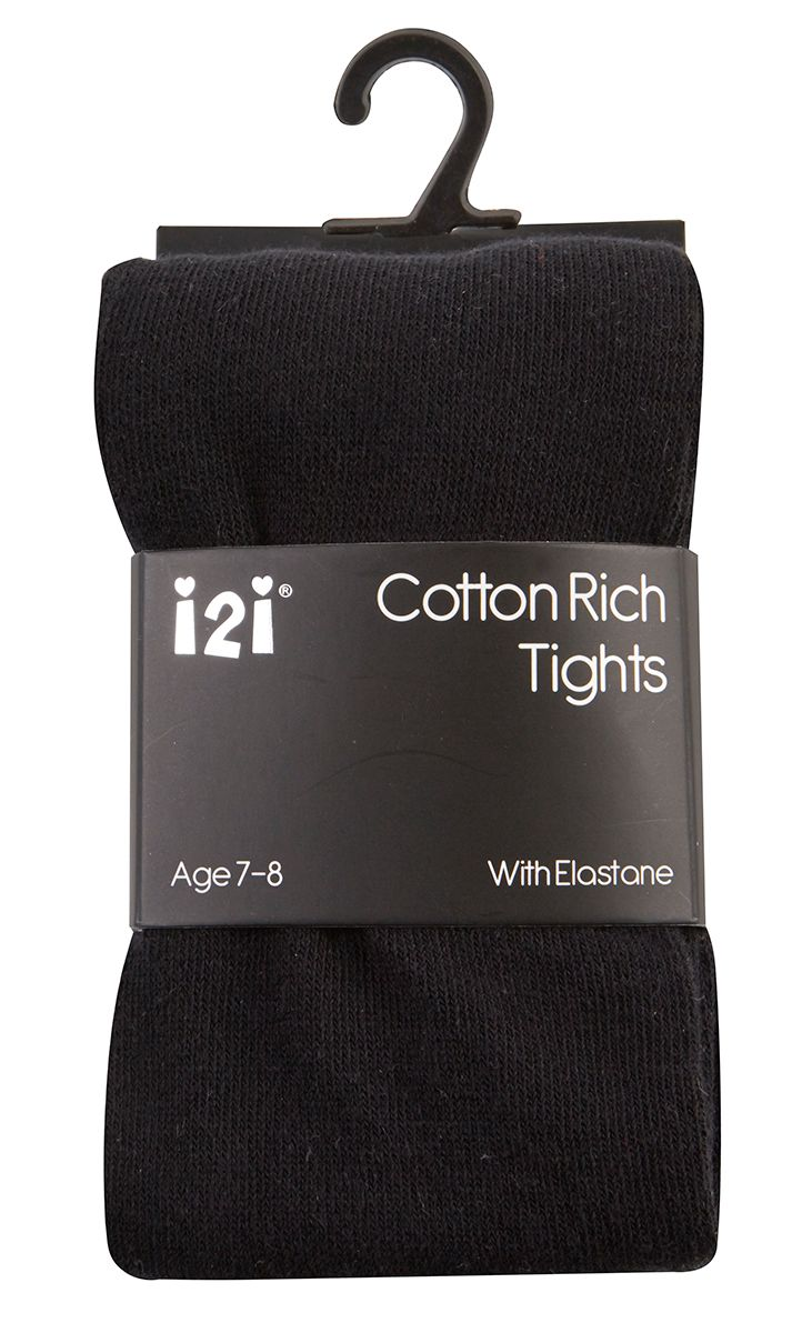 BLK1, Girls Plain cotton rich black tights with elastane £1.20.    pk6.....