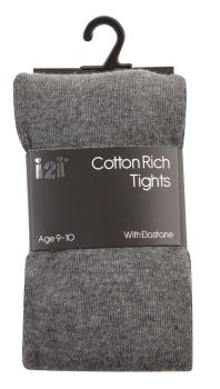 GRE1, Girls Plain cotton rich grey tights with elastane £1.30.    pk6........