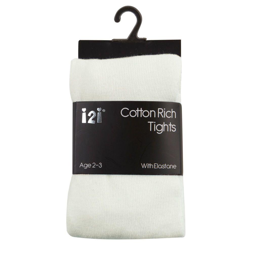 CRE1, Girls Plain cotton rich  tights with elastane - Cream £1.20.    pk6..