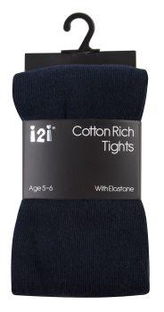 NAV1, Girls Plain cotton rich  navy tights with elastane £1.20.    pk6........