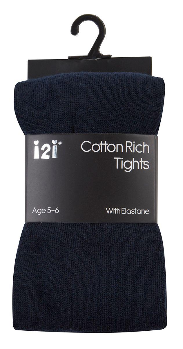 NAV1, Girls Plain cotton rich  navy tights with elastane £1.20.    pk6.....