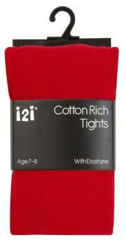 RED1, Girls Plain cotton rich red tights with elastane £1.30.    pk6........