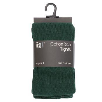 BTL1, Girls Plain cotton rich tights with elastane - Bottle Green £1.20.    pk6........