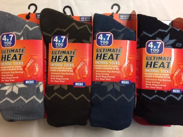 Code:499C, Mens Ultimate Heat Thermal Socks With Lining £2.00.  pk12..