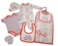 GP963, Baby Boys 5 Pieces Gift Set - I Love Cuddles (Sleepsuit, Short Sleeved Bodyvest, Bib, Hat, Mittens) £5.95.  PK6..