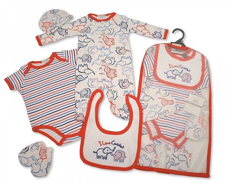 GP963, Baby Boys 5 Pieces Gift Set - I Love Cuddles (Sleepsuit, Short Sleev