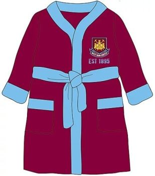 "WH29035, Boys ""West Ham"" dressing gown £5.95.  pk18.."