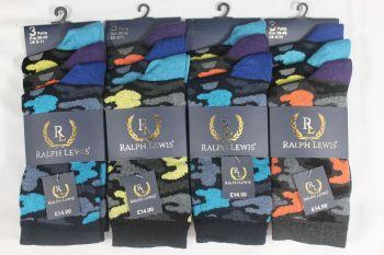 RL9023, Mens camo design socks £3.75 per dozen, 10 dozen....