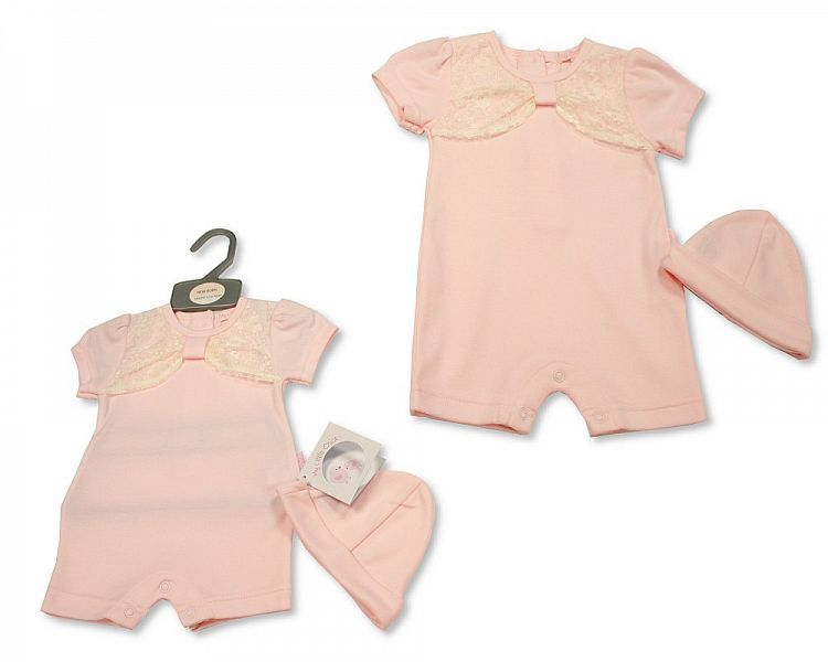 BIS2291, Baby Girls Romper with Lace and Hat £5.50.  PK6...