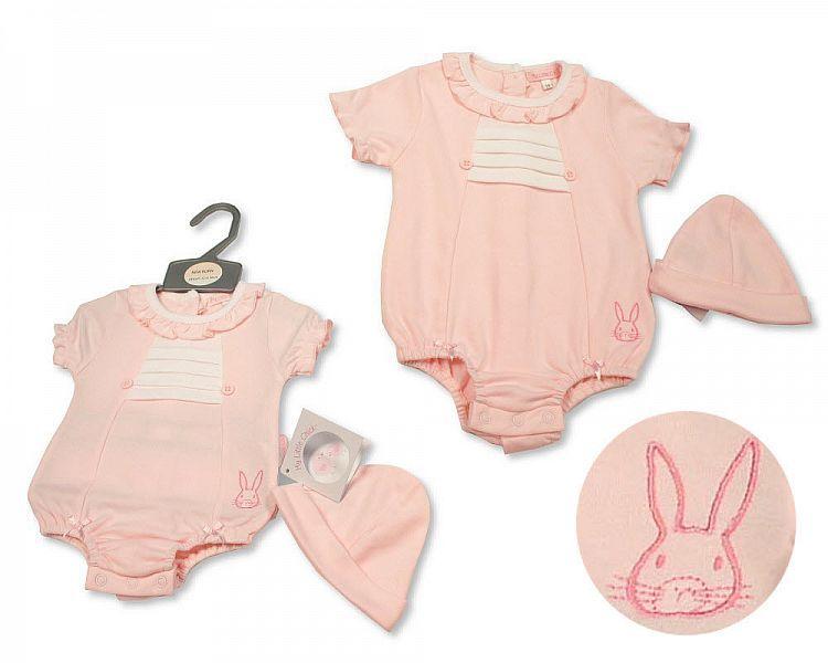 BIS2289, Baby Girls Romper with Hat - Bunny £5.20.  PK6...