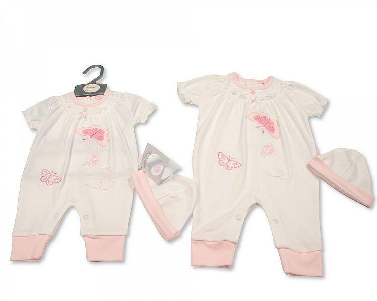 BIS2287, Baby Girls Long Romper with Hat - Little Petal £6.40.  PK6...