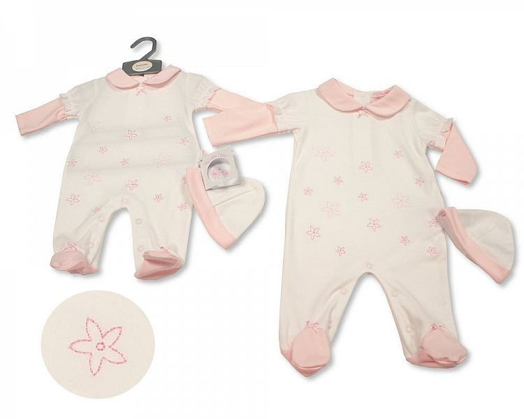 BIS2286, Baby Girls All-In-One with Hat - Little Petal £6.40.  PK6...