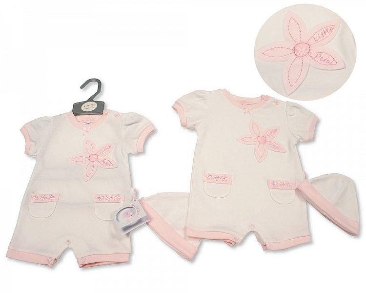 BIS2285, Baby Girls Romper with Hat - Little Petal £5.50.  PK6...