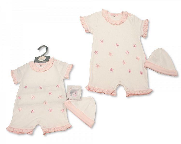 BIS2284, Baby Girls Romper with Hat - Little Petal £5.50.  PK6..