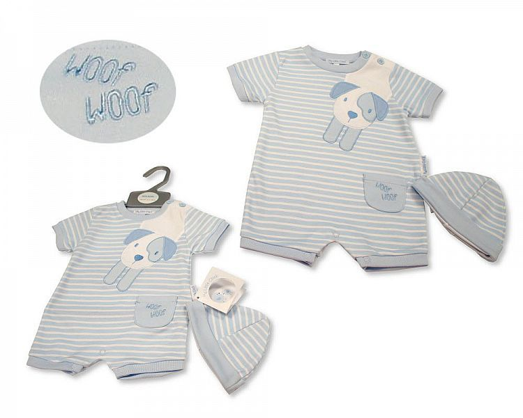 BIS2282, Baby Boys Romper with Hat - Woof Woof £5.50.  PK6...