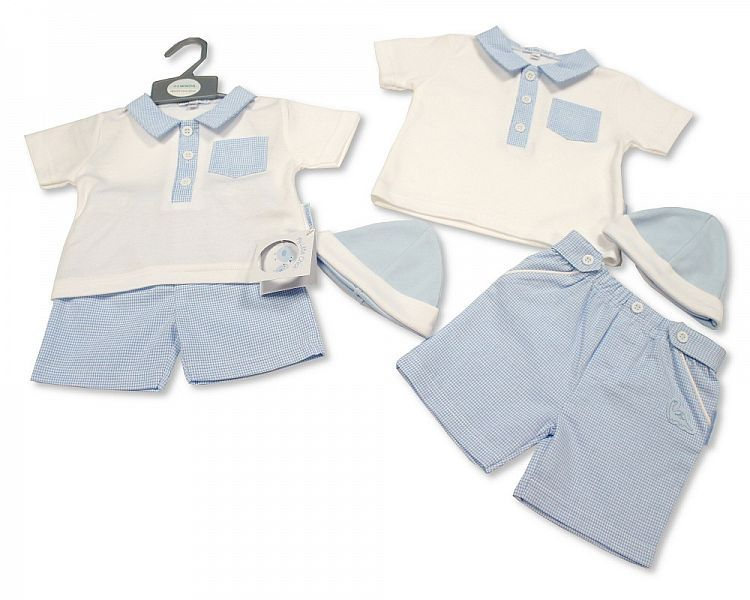 BIS2280, Baby Boys 2 Pieces Shorts Set with Hat - Dino £5.75.  PK6...