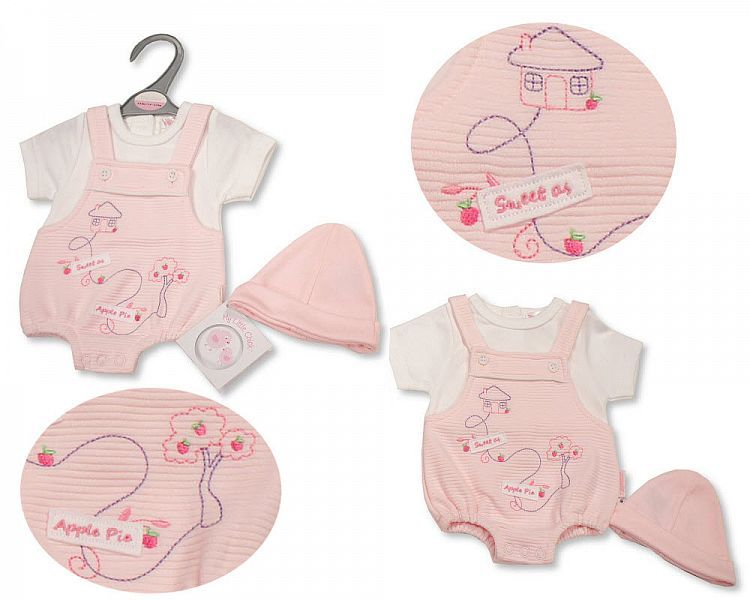 PB538, Premature Baby Girls Dungaree Romper with Hat - Sweet As Apple Pie £