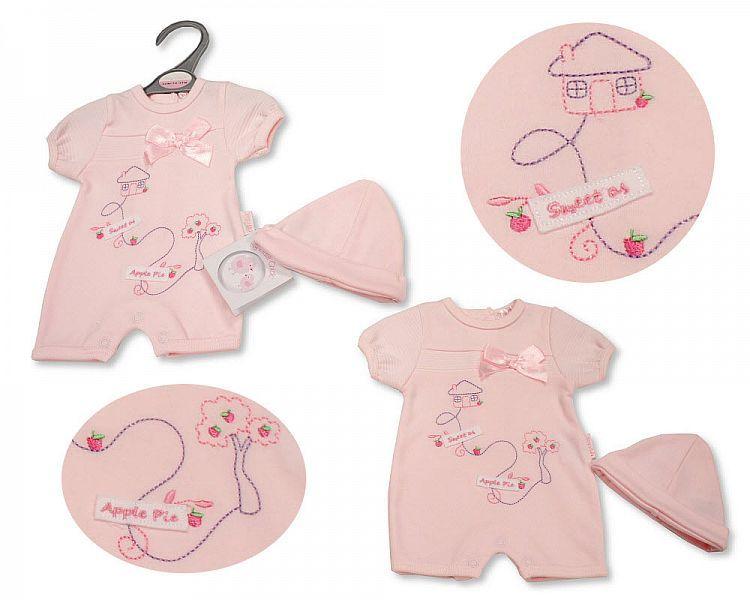 PB537, Premature Baby Girls Romper with Hat - Sweet As Apple Pie £4.95.  PK