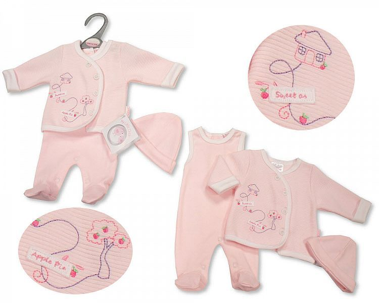 PB536, Premature Baby Girls 2 Pieces Set with Hat - Sweet As Apple Pie £6.6