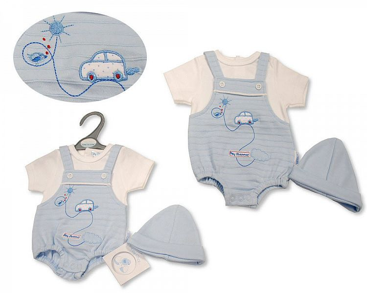 PB535, Premature Baby Boys Dungaree Romper with Hat - Day Dreamer £6.40.  P