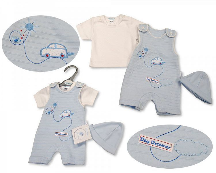 PB533, Premature Baby Boys 2 Pieces Dungaree Set with Hat - Day Dreamer £6.