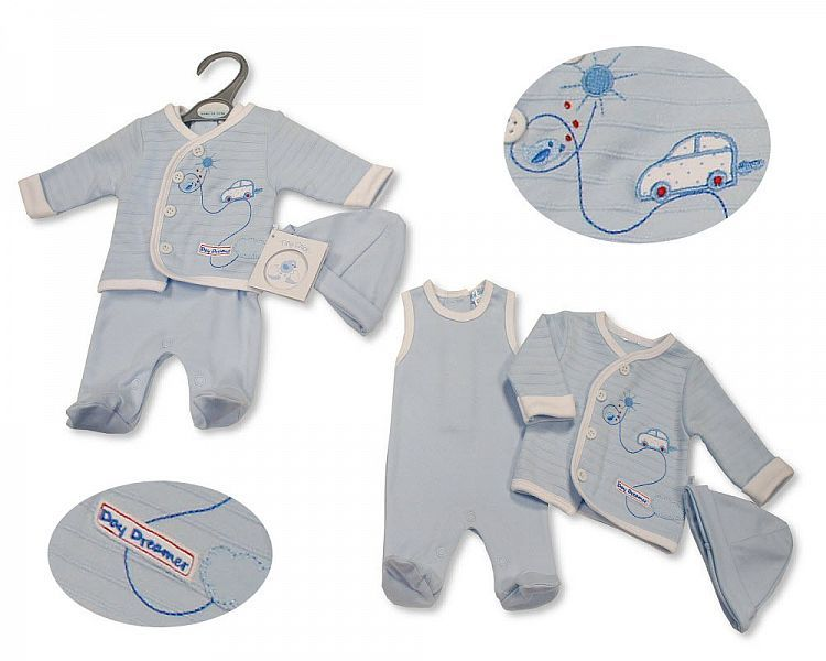 PB532, Premature Baby Boys 2 Pieces Set with Hat - Day Dreamer £6.60.  PK6.