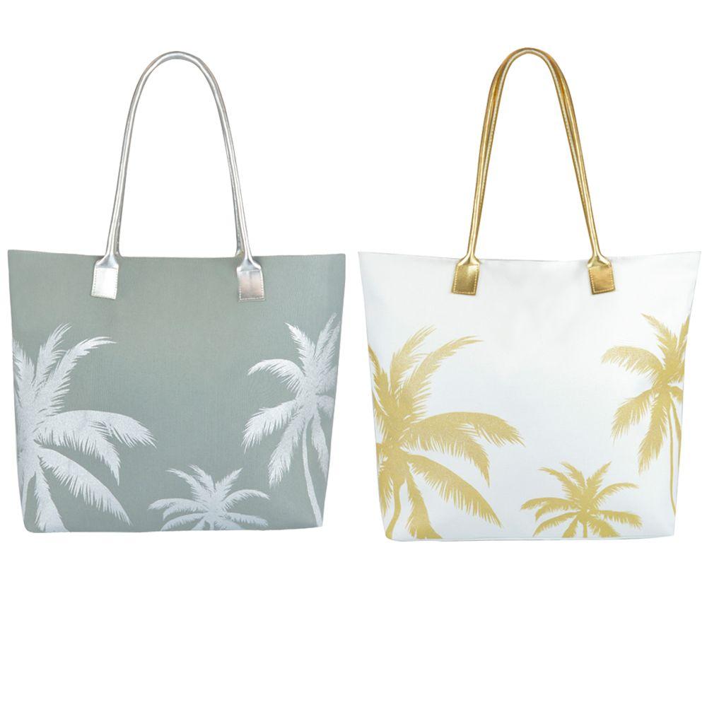 BB1047, Poly Canvas Palm Tree Print Bag with PU Handle £3.50.  pk6..