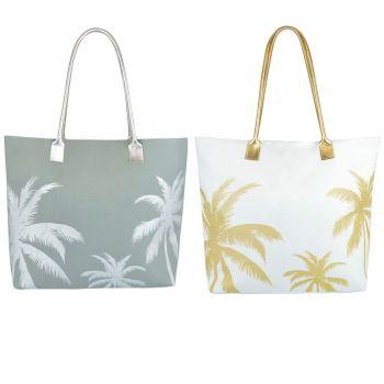 BB1047, Poly Canvas Palm Tree Print Bag with PU Handle £3.95.  pk6..