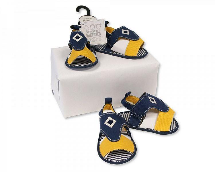 BSS487, Baby Boys Sandals - Navy/Yellow £2.25.  PK8...