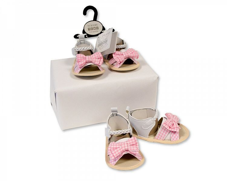 BSS482, Baby Girls Sandals - Gingham Bow £2.25.   PK8...