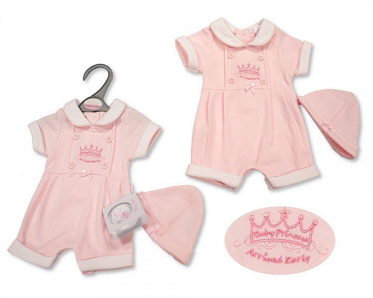PB528, Premature Baby Girls Romper with Hat - Baby Princess £4.95.  PK6..
