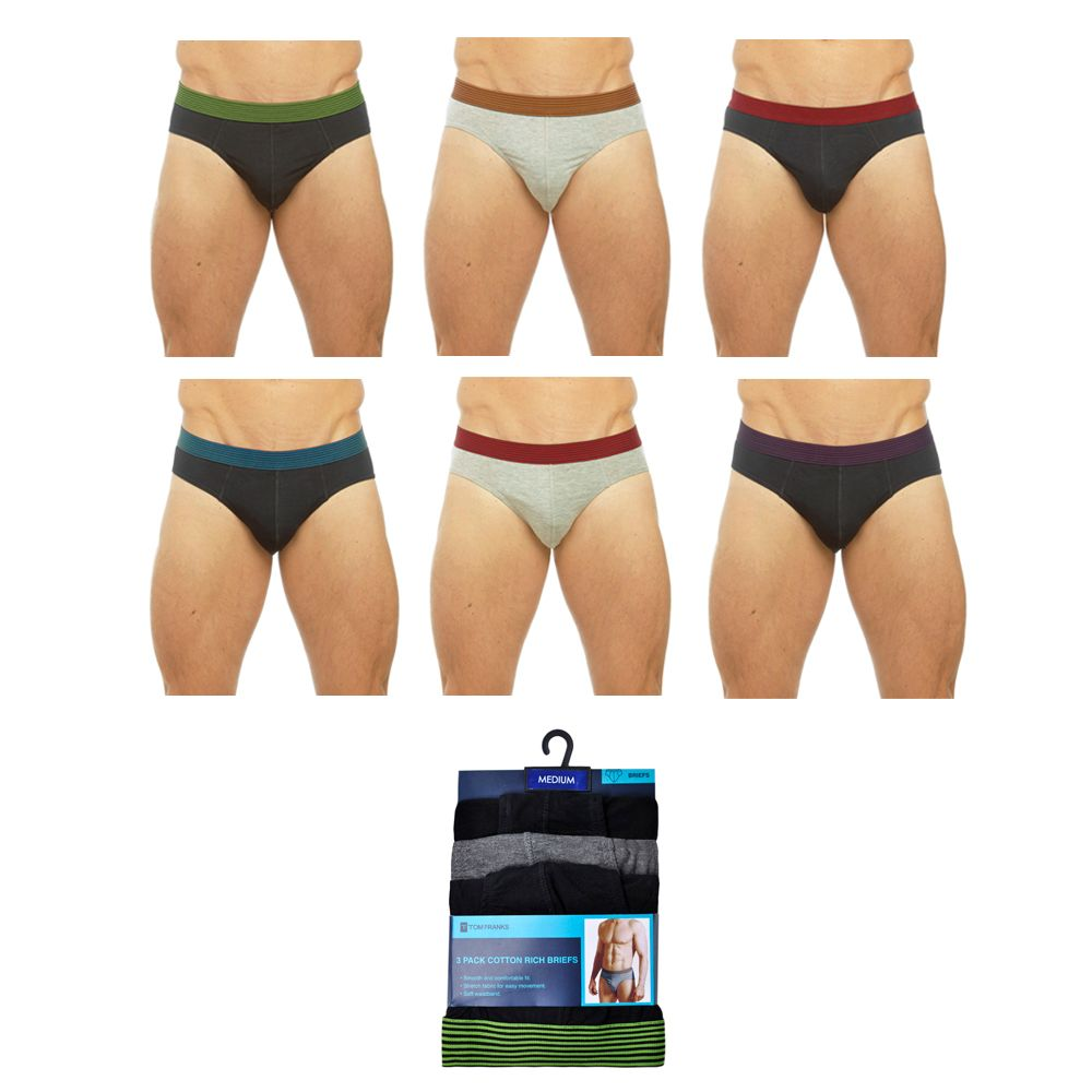 BR194A, Mens 3 in a pack Briefs with Striped Waistband £2.40.  40pks...