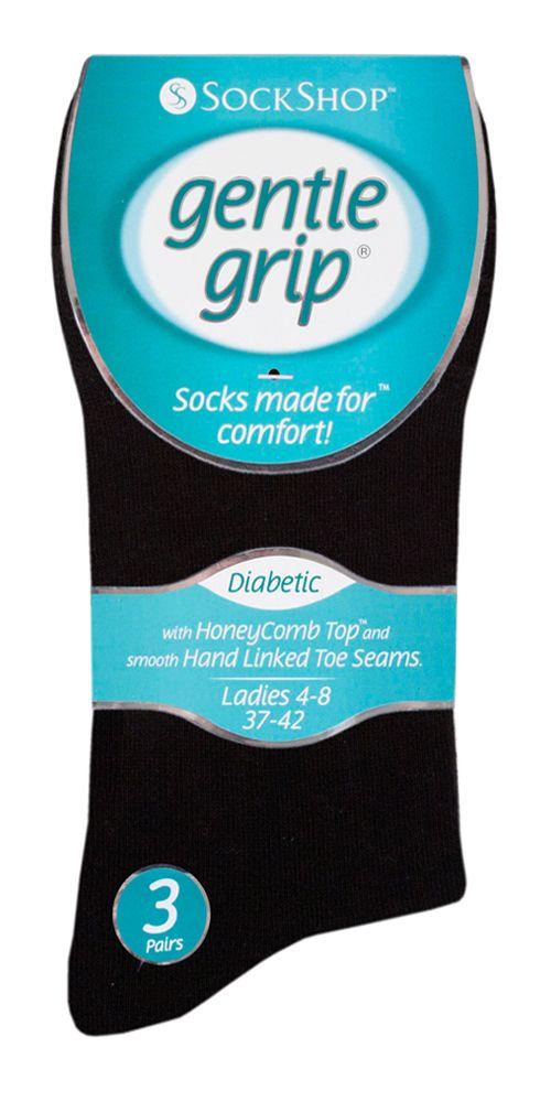SOLRD31, Ladies Diabetic Gentle Grip Socks- Black.  1 dozen...