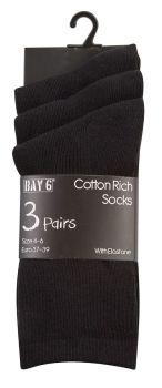 SCHB, Childrens cotton rich school socks- Black.  1 dozen.....