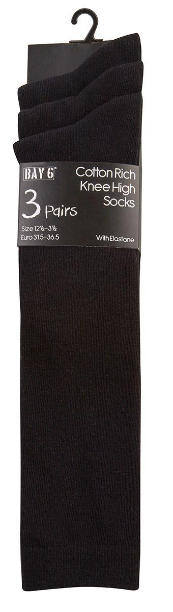 43B425, Girls 3PK Knee High Socks- Black £1.70.   12PKS...