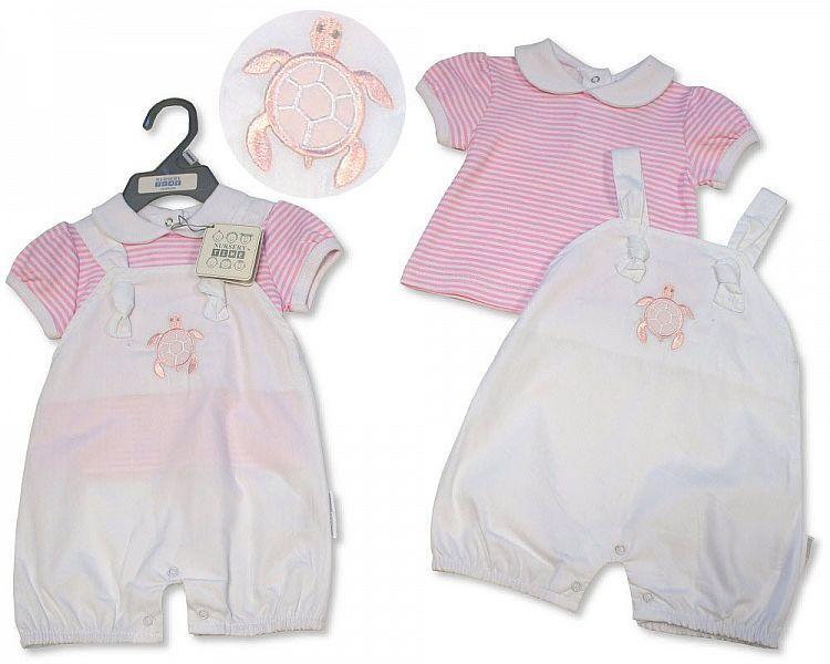 BIS2306, Baby Girls 2 Pieces Dungaree Set - Little Swimmer £5.95.  PK6...
