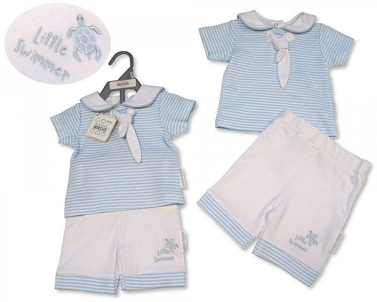 BIS2305, Baby Boys 2 Pieces Shorts Set - Little Swimmer £5.65.  PK6...
