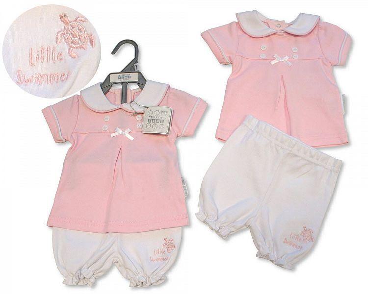 BIS2309, Baby Girls 2 Pieces Set - Little Swimmer £5.65.  PK6...