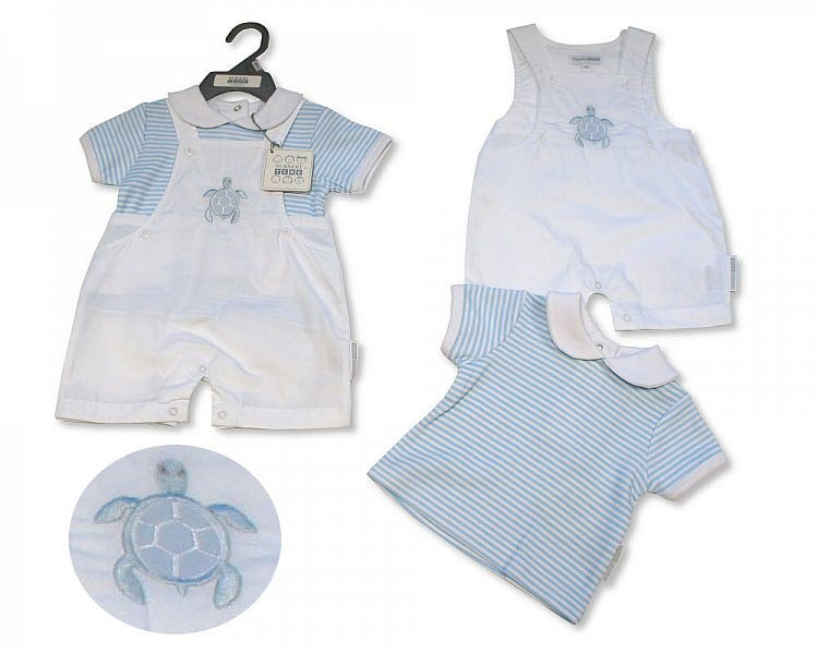 BIS2302, Baby Boys 2 Pieces Dungaree Set - Little Swimmer £5.95.  PK6...