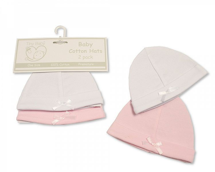 PB479, Premature Baby 2PK Girls Hat with Bow £1.80.   6PKS...