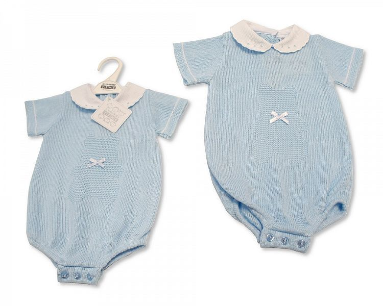 BW047, Baby Boys Knitted Romper with Lace Collar and Bow £11.00.  PK6..