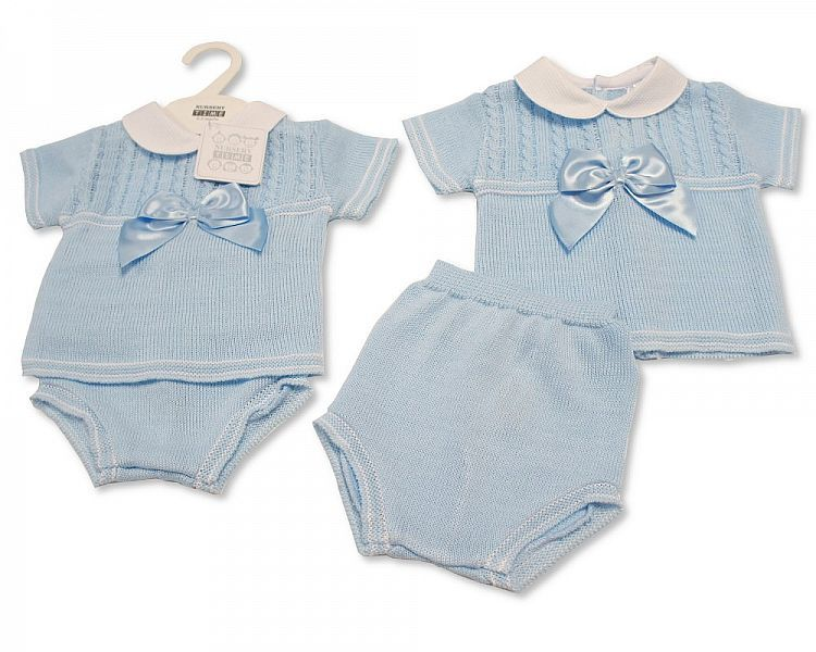 BW046, Baby Boys Knitted 2 Pieces Set with Bow £10.80.  PK6..