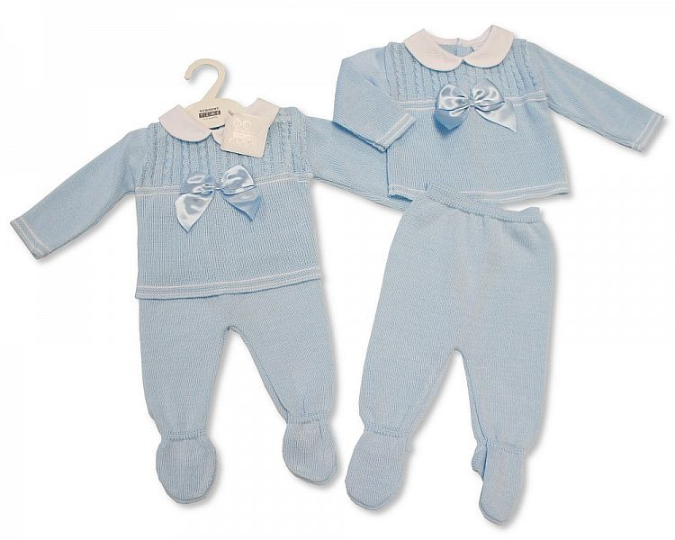 BW045, Baby Boys Knitted 2 Pieces Pram Set with Bow £11.20.  PK6..
