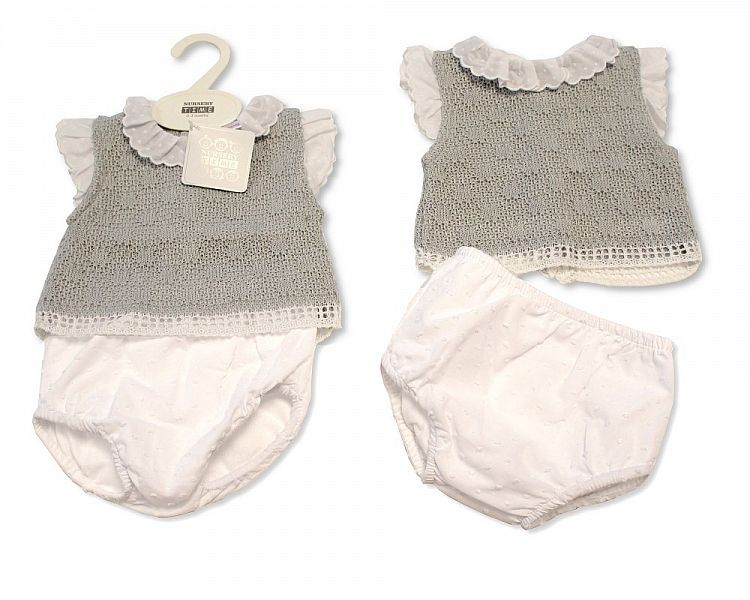 BW034, Knitted Baby 2 Pieces Set with Lace Collar and Sleeves £11.50.  PK6.