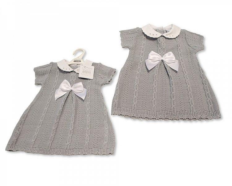 BW029, Knitted Baby Dress with Bow £11.20.  PK6..