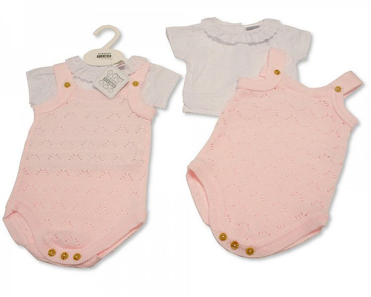 BW021, Baby Girls Knitted 2 Pieces Dungaree Set £12.20.  PK6..