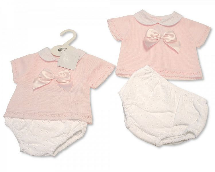 BW016, Baby Girls Knitted 2 Pieces Set with Bow £10.80.  PK6..