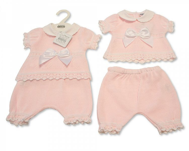 BW009, Baby Girls Knitted 2 Pieces Set with Long Bottom £11.00.  PK6..