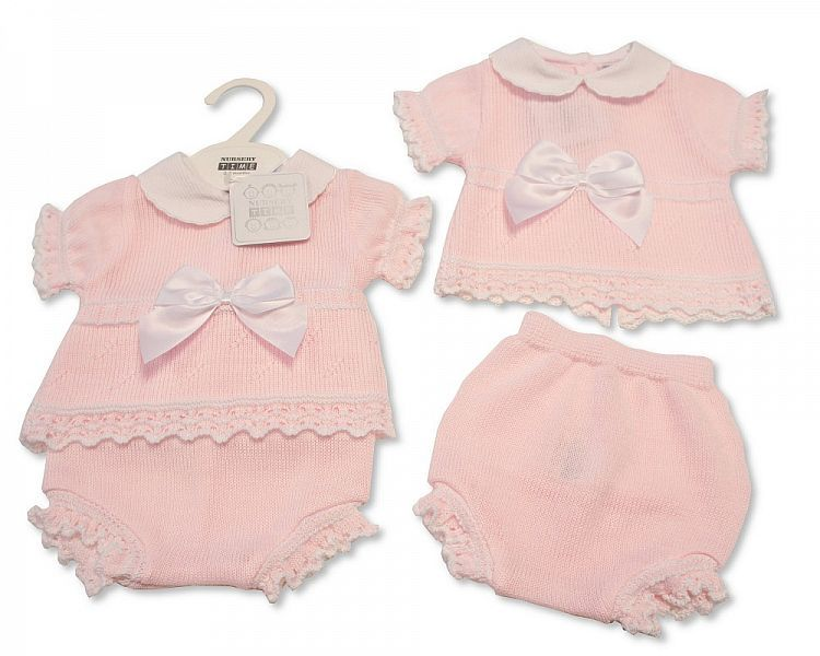 BW008, Baby Girls Knitted 2 Pieces Set with Bow £10.65.  PK6..